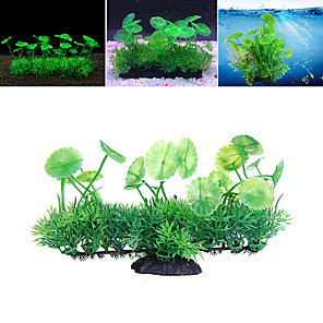 cheap Aquarium Décor & Gravel-Fish Tank Arquatic Plant Fish Bowl Ornament Waterplant Artificial Plants Green Non-toxic & Tasteless Decoration Resin Plastic One-piece Suit 18*6*11 cm