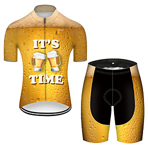 cheap Cycling Jersey & Shorts / Pants Sets-21Grams Men's Short Sleeve Cycling Jersey with Shorts Polyester Gold 3D Gradient Oktoberfest Beer Bike Clothing Suit Breathable 3D Pad Quick Dry Ultraviolet Resistant Reflective Strips Sports 3D