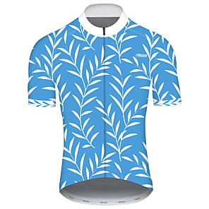 cheap Cycling Jerseys-21Grams Men's Short Sleeve Cycling Jersey Spandex Polyester Sky Blue Patchwork Bike Jersey Top Mountain Bike MTB Road Bike Cycling UV Resistant Breathable Quick Dry Sports Clothing Apparel / Stretchy