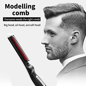 cheap Bathroom Gadgets-Multifunctional Hair Comb Brush Quick Beard Straightener Curling Curler Show Cap Men Beauty Hair Styling Tool Dropshipping