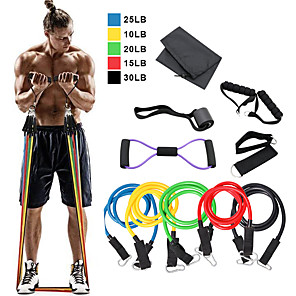cheap Fitness Gear & Accessories-Resistance Band Set 12 pcs 5 Stackable Exercise Bands Door Anchor Legs Ankle Straps Sports TPE Home Workout Pilates Fitness Heavy-duty Carabiner Strength Training Muscular Bodyweight Training Muscle