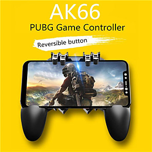 "cheap Video Game Accessories-AK66 Mobile Game Controller with L1R1 L2R2 Triggers, PUBG Mobile Controller 6 Fingers Operation, PUBG controller Free Fire Game Remote Grip Shooting Aim Keys for 4.7-6.5"" iPhone Android iOS Cellphone"