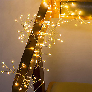 cheap LED Strip Lights-2M 100Leds Copper Wire LED String Lights Firecracker Fairy Garland Light for Christmas Window Wedding Party Warm White Decor AA Battery Operated (come without battery)