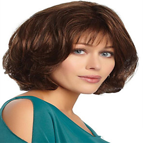 cheap Synthetic Trendy Wigs-Synthetic Wig kinky Straight With Bangs Wig Short Light Brown Synthetic Hair 12 inch Women's Simple Life Classic Light Brown