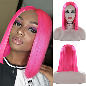 cheap Bridesmaid Dresses-Synthetic Lace Front Wig Silky Straight Middle Part Lace Front Wig Pink Short Pink Synthetic Hair 8-16 inch Women's Soft Heat Resistant Synthetic Pink / Natural Hairline / Natural Hairline
