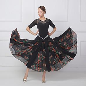 cheap Ballroom Dancewear-Ballroom Dance Dress Split Joint Crystals / Rhinestones Women's Training Performance Short Sleeve Chiffon Lace Lycra