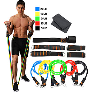 cheap Fitness Gear & Accessories-Resistance Band Set 11 pcs 5 Stackable Exercise Bands Door Anchor Legs Ankle Straps Sports TPE Home Workout Pilates Exercise & Fitness Heavy-duty Carabiner Strength Training Muscular Bodyweight
