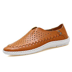 cheap Men's Slip-ons & Loafers-Men's Nappa Leather Spring & Summer / Fall & Winter Classic / Casual Loafers & Slip-Ons Breathable Khaki / Blue / White