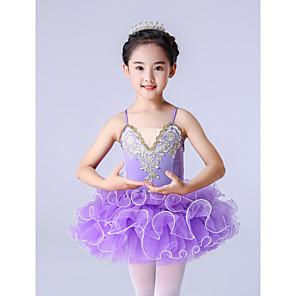 cheap Ballet Dancewear-Ballet Dress Ruffles Appliques Girls' Training Performance Tulle Polyester
