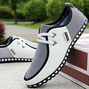 cheap Men's Slip-ons & Loafers-Men's Fall & Winter Casual Daily Sneakers Canvas / PU White / Black / Blue