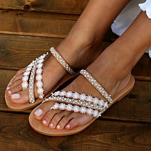 cheap Women's Sandals-Women's Sandals Boho / Beach Flat Sandals 2020 Summer Flat Heel Open Toe Boho Daily Braided Faux Leather White