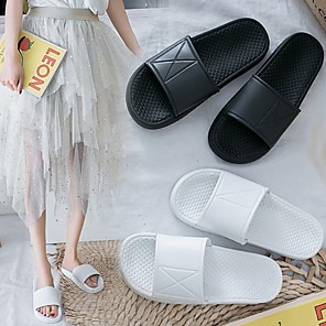 cheap Women's Boots-Women's Slippers & Flip-Flops Summer Flat Heel Open Toe Daily PU White / Black
