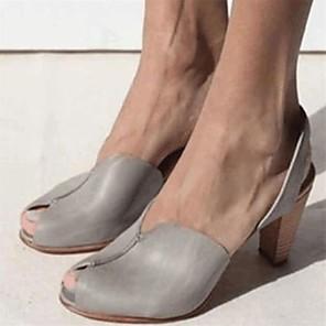 cheap Women's Sandals-Women's Sandals Summer Cone Heel Open Toe Daily PU Light Yellow / Light Brown / Red