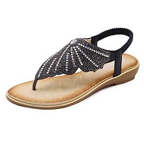 cheap Women's Sandals-Women's Sandals Summer Flat Heel Open Toe Daily PU Black / Gold