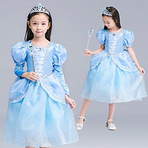 cheap Movie & TV Theme Costumes-Princess Cinderella Dress Flower Girl Dress Girls' Movie Cosplay A-Line Slip Blue Dress Children's Day Masquerade Tulle Polyester