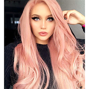 cheap Synthetic Lace Wigs-Synthetic Wig Matte Body Wave Asymmetrical Wig Pink Long Pink+Red Bright Purple Synthetic Hair 65 inch Women's Party Adorable Middle Part Pink Purple