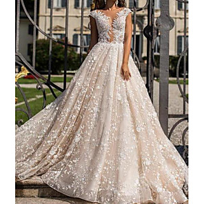 cheap Car DVD Players-A-Line Wedding Dresses Jewel Neck Sweep / Brush Train Lace Tulle Sleeveless Sexy See-Through with Crystals Embroidery 2020