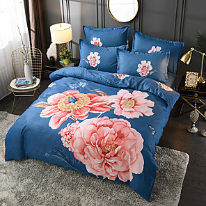 cheap Floral Duvet Covers-4 Pieces Chinoiserie Duvet Cover Set Elegant Floral Pattern Brushed Comfortable Beddings