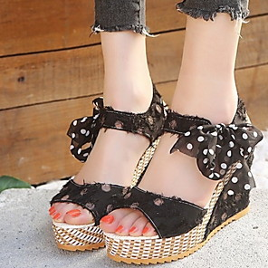 cheap Women's Sandals-Women's Sandals Wedge Sandals Platform Sandal Summer Platform Peep Toe Daily PU White / Black / Pink