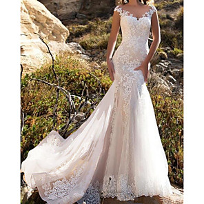 cheap Wedding Dresses-Mermaid / Trumpet Wedding Dresses Jewel Neck Chapel Train Lace Tulle Sleeveless Glamorous with Lace Insert Appliques 2020