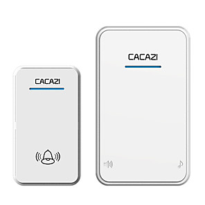 cheap Doorbell Systems-CACAZI white/Black Long Range Wireless Doorbell DC Battery-operated 300M Remote 48 Chimes 6 Volume LED Light Home Cordless Bell