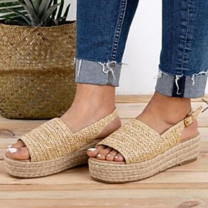 cheap Women's Sandals-Women's Sandals Platform Sandal Summer Platform Open Toe Daily PU Khaki / Beige