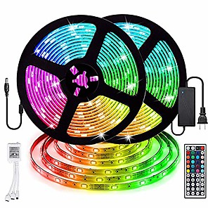 cheap Indoor Wall Lights-ZDM 2 x 5 m Waterproof LED Light Strips RGB Tiktok Lights 5050 SMD 10mm Light Sets 300 LEDs with 44Key IR Controller 70W 12V6A Power Supply Soft Light Strip Kit