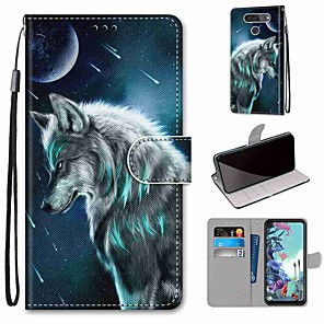 cheap Other Phone Case-Case For LG Q70 / LG K50S / LG K40S Wallet / Card Holder / with Stand Full Body Cases Pensive Wolf PU Leather / TPU for LG K30 2019 / LG K20 2019