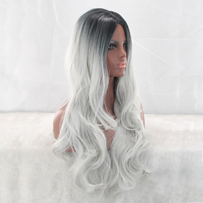 cheap Synthetic Trendy Wigs-Synthetic Wig Curly Middle Part Wig Very Long Silver grey Synthetic Hair 26 inch Women's Ombre Hair Middle Part curling Silver