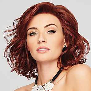 cheap Synthetic Trendy Wigs-Synthetic Wig Curly Asymmetrical Wig Short Burgundy Synthetic Hair 12 inch Women's Fashionable Design Women Synthetic Burgundy