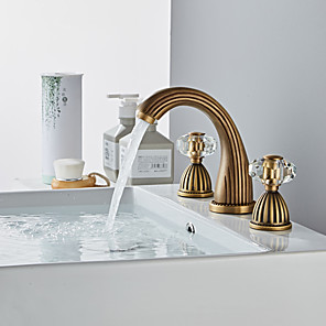 cheap Bathroom Sink Faucets-Bathroom Sink Faucet - Widespread Antique Brass Widespread Two Handles Three HolesBath Taps