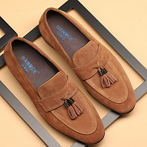 cheap Men's Slip-ons & Loafers-Men's Spring & Summer Classic Daily Loafers & Slip-Ons Suede Wine / Black / Blue