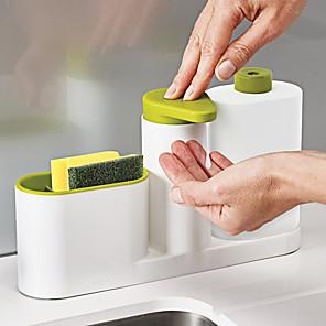 cheap Bathroom Gadgets-Bathroom Sink Hand Sanitizer Soap Dispenser Kitchen Sink Detergent Dispenser Stand With Sponge Storage Bathroom Organizer