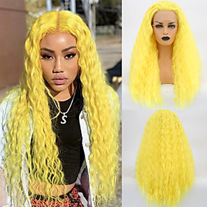 cheap Synthetic Lace Wigs-Synthetic Lace Front Wig Curly Middle Part Lace Front Wig Long Yellow Synthetic Hair 18-26 inch Women's Cosplay Soft Adjustable Yellow