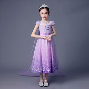 cheap Movie & TV Theme Costumes-Princess Elsa Dress Flower Girl Dress Girls' Movie Cosplay A-Line Slip Purple Dress Children's Day Masquerade Tulle Polyester