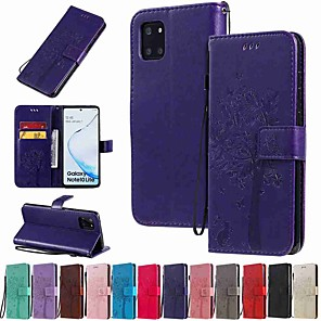 cheap Samsung Case-Case For Samsung Galaxy Galaxy S10 / Galaxy S10 Plus / Galaxy S10 E Wallet / Card Holder / with Stand Full Body Cases Cat / Tree PU Leather / TPU