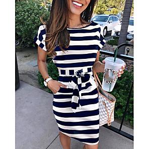 cheap Women's Sandals-Women's A-Line Dress Knee Length Dress - Short Sleeve Striped Summer Elegant 2020 Dusty Blue Light gray S M L XL