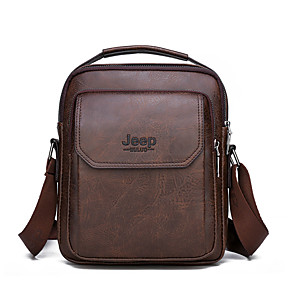 cheap Men's Bags-Men's Zipper PU Top Handle Bag Solid Color Black / Khaki / Brown