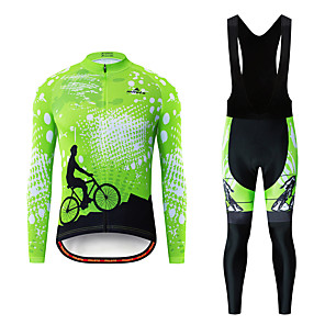 cheap Cycling Jersey & Shorts / Pants Sets-Miloto Men's Long Sleeve Cycling Jersey with Bib Tights White Black Bike Breathable Sports Patterned Mountain Bike MTB Road Bike Cycling Clothing Apparel / Stretchy