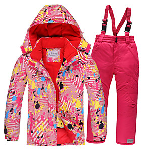cheap Snow Hiking Boots-Girls' Ski Jacket Ski / Snow Pants Skiing Camping / Hiking Winter Sports Waterproof Windproof Warm Polyester Warm Top Warm Pants Clothing Suit Ski Wear / Kids