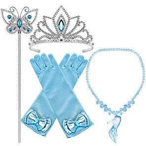 cheap Movie & TV Theme Costumes-Princess Cinderella Princess Cosplay Jewelry Accessories Girls' Movie Cosplay Blue Gloves Crown Necklace Children's Day Masquerade Plastics / Wand
