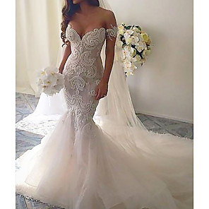 cheap Men's Slip-ons & Loafers-Mermaid / Trumpet Wedding Dresses V Neck Court Train Lace Tulle Short Sleeve Romantic See-Through with Embroidery 2020