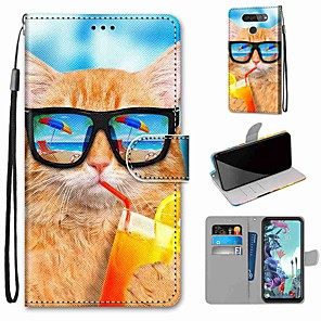 cheap Other Phone Case-Case For LG Q70 / LG K50S / LG K40S Wallet / Card Holder / with Stand Full Body Cases Drink Soda Cat PU Leather / TPU for LG K30 2019 / LG K20 2019