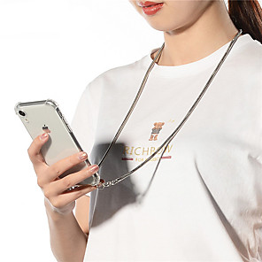 cheap iPhone Cases-Strap Cord Metal Chain Tape Necklace Phone Case For iPhone SE 2020 / 11 / 11 Pro / 11 Pro Max / X / XS / XR / XS Max / 8Plus / 8 / 7Plus 7 / 6Plus / 6 / 6sPlus / 6s Soft Transparent Cover For Carry