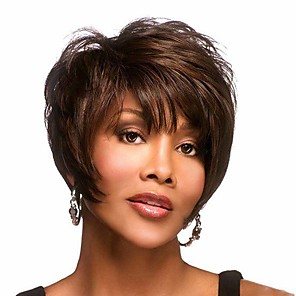 cheap Synthetic Trendy Wigs-Synthetic Wig Curly Matte Pixie Cut Wig Short Light Brown Synthetic Hair 6 inch Women's Cool curling Fluffy Brown
