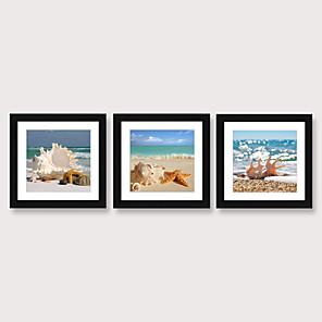 cheap Framed Arts-Framed Art Print Framed Set 3 - Blue Mediterranean Beach View Wall Art