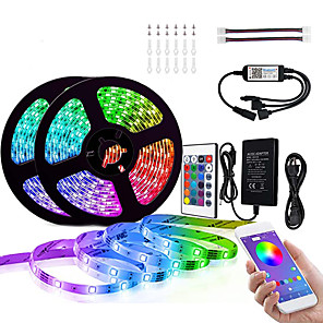 cheap LED Strip Lights-10M (2 x 5M) Bluetooth LED Strip Lights RGB Tiktok Lights 5050 300 LEDs Smart-Phone Controlled for Home Outdoor Decoration 12V 6A Adapter