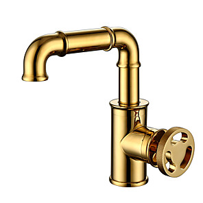 cheap Bathroom Sink Faucets-Kitchen faucet - Single Handle One Hole Electroplated Standard Spout Other Antique Kitchen Taps