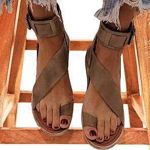 cheap Women's Sandals-Women's Sandals Flat Sandals Bunion Sandals Summer Flat Heel Open Toe Daily PU Black / Khaki / Brown