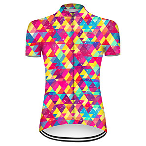 cheap Cycling Jerseys-21Grams Women's Short Sleeve Cycling Jersey Nylon Polyester Red+Blue Plaid Checkered Bike Jersey Top Mountain Bike MTB Road Bike Cycling Breathable Quick Dry Ultraviolet Resistant Sports Clothing